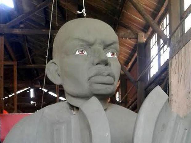 Escultura da escola de samba Ponte Preta que irá compor o desfile de Campinas (Foto: Marcelo Zacher/ Arquivo pessoal)