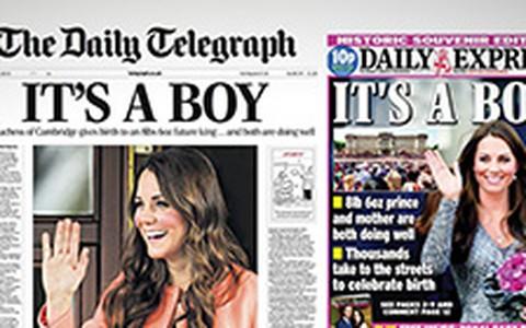 Jornais britânicos mostram manchetes sobre o bebê de Will e Kate