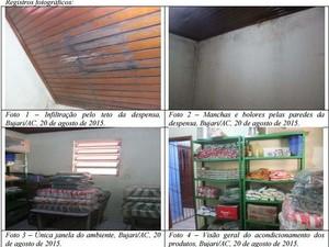 Relatório mostra condições de locais usados para armazenamento de alimentos em escolas do Bujari (Foto: Divulgação/CGU)