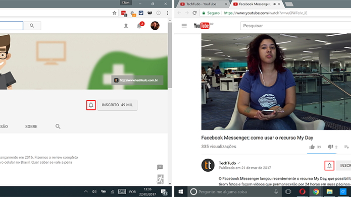 Clique no sino para ativar notificações de novos vídeos do canal (Foto: Reprodução/Elson de Souza)