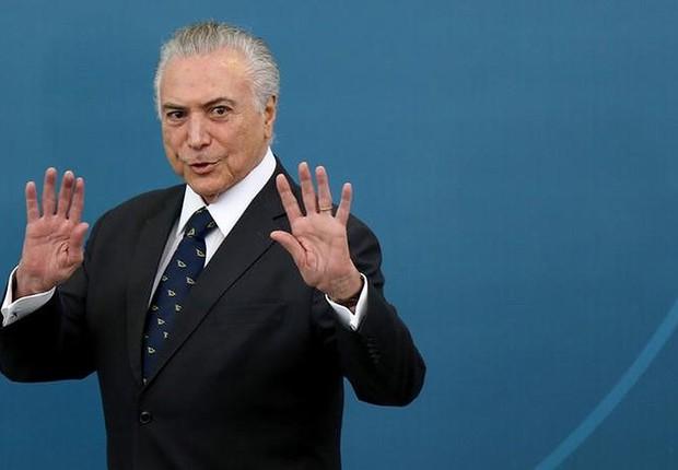 O presidente Michel Temer durante cerimônia no Palácio do Planalto (Foto: Adriano Machado/Reuters)