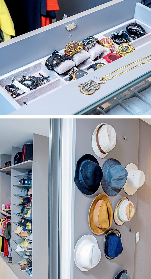 A coleção de relógios e chapéus  fica organizada como o cantor gosta  (Foto:  )