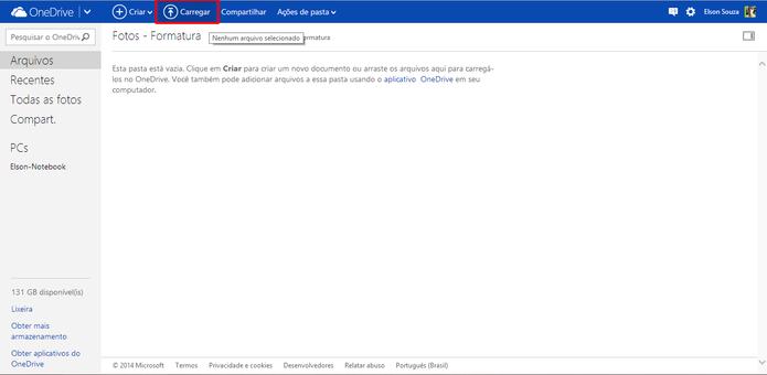 OneDrive pode receber novos arquivos através do botão carregar localizado na parte superior do navegador (Foto: Reprodução/Elson de Souza)