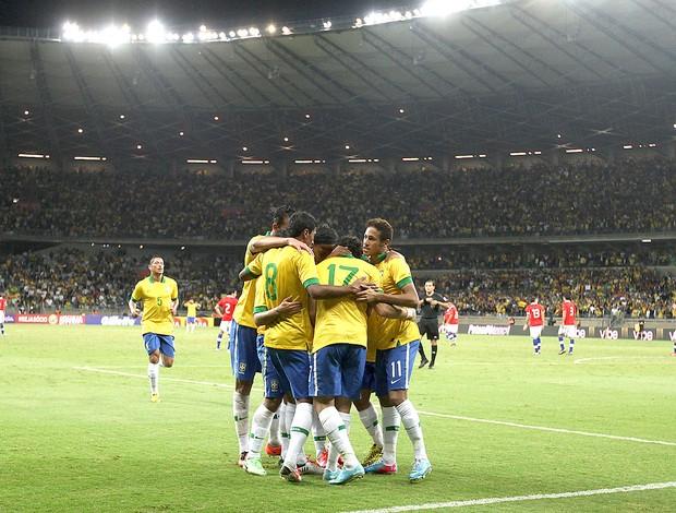 Brasil comemoração Mineirão jogo Chile (Foto: Mowa Press)