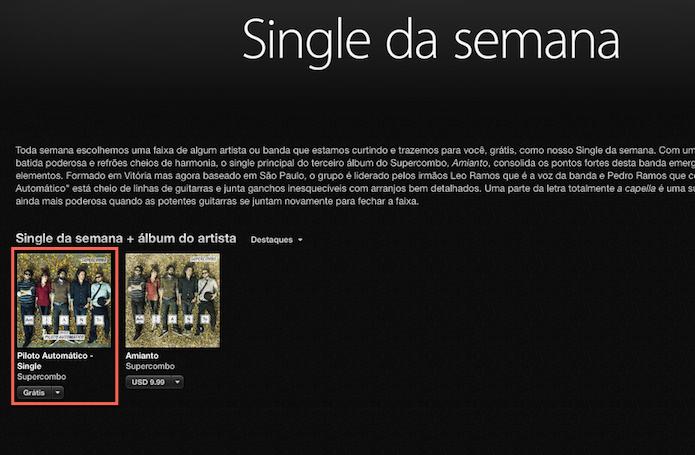 Encontrado conteúdos musicais gratuitos na iTunes Store (Foto: Reprodução/Marvin Costa)