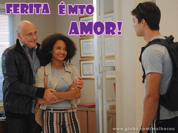 O gato pede a Rita em namoro na frente dos pais e samba na cara do preconceito (Foto: Malhação / Tv Globo)