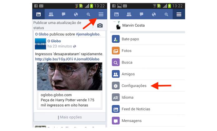 Acessando as configurações do Facebook Lite para Android (Foto: Reprodução/Marvin Costa)