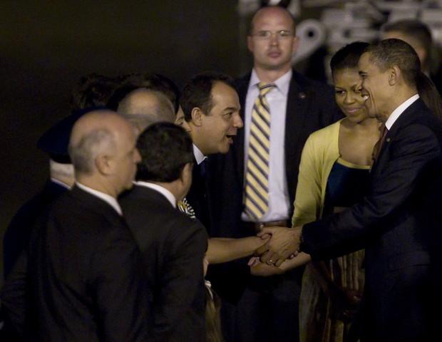 O então governador do Rio Sérgio Cabral e Barack Obama, no Rio  (Foto: getty images)