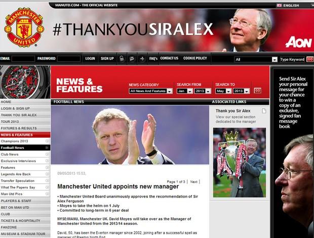 David Moyes novo treinador do Manchester united  (Foto: Reprodução / Site Oficial do Manchester United)