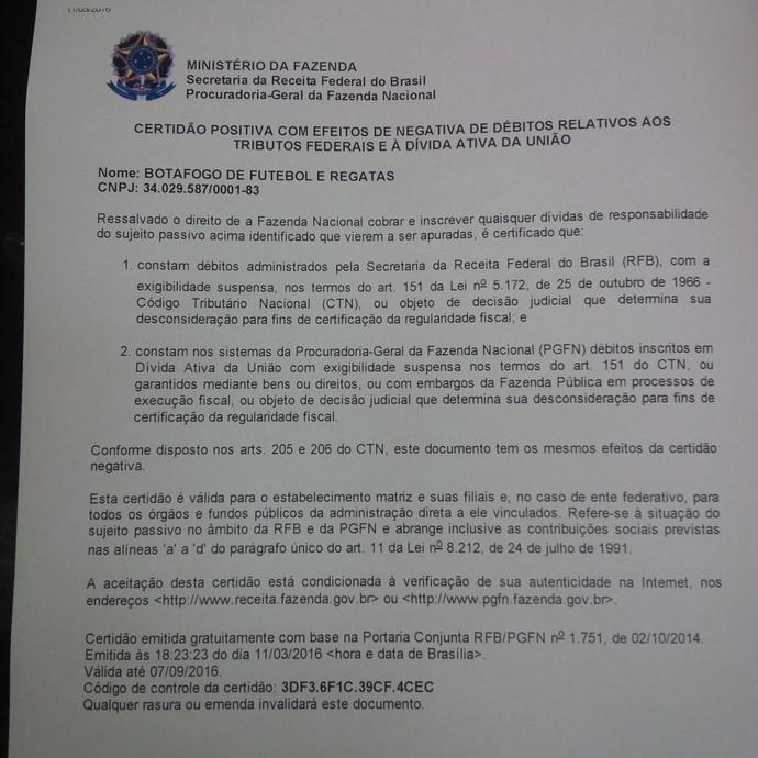 Certidão Negativa de Débitos do Botafogo (Foto: Reprodução)