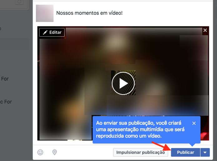 Opção para publicar o vídeo criado com fotos em uma página do Facebook (Foto: Reprodução/Marvin Costa)