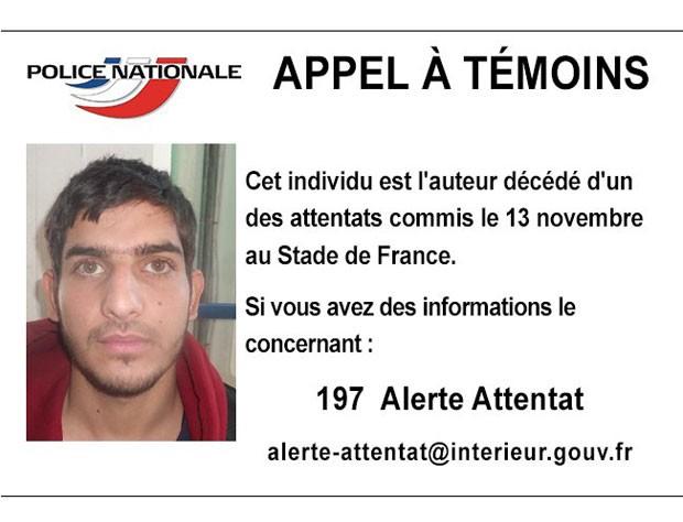Polícia francesa divulgou foto de suspeito de ter participado de ataques de 13 de novembro nos arredores do Stade de France (Foto: Police Nationale/Twitter)
