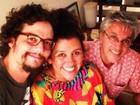 Regina Casé posa ao lado de Wagner Moura e Caetano Veloso: 'Muito amor'