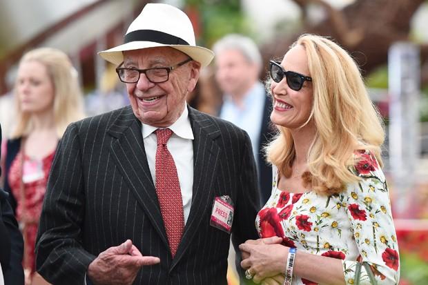 Rupert Murdoch e sua atual esposa, Jerry Hall (Foto: Eamonn M. McCormack/Getty Images)