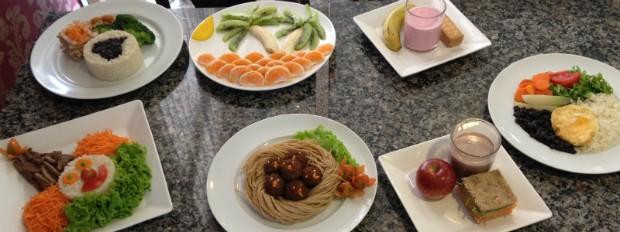 Nutricionista monta diferentes opções de pratos saudáveis para as crianças (Foto: Thais Kaniak / G1PR)