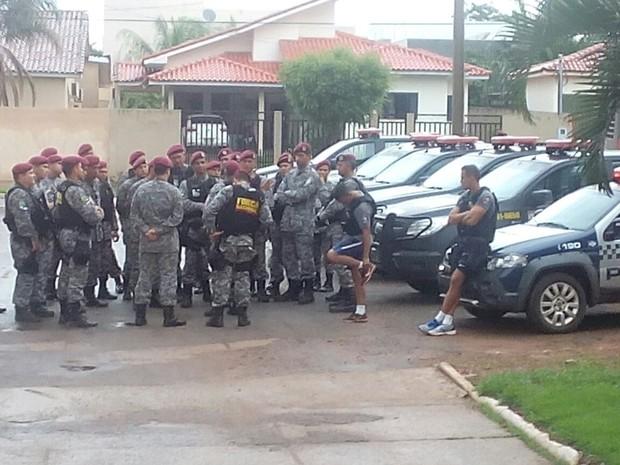 Homens da Força Nacional chegaram a Pontes e Lacerda neste final de semana (Foto: Divulgação/PM)