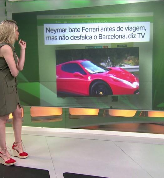 Neymar bate Ferrari antes de viagem,  não se machuca, e vai jogar hoje pelo Barcelona
