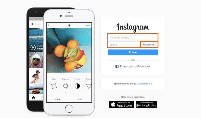 Acesse o Instagram pelo computador para redefinir a senha esquecida (Foto: Reprodução/Barbara Mannara) (Foto: Acesse o Instagram pelo computador para redefinir a senha esquecida (Foto: Reprodução/Barbara Mannara))