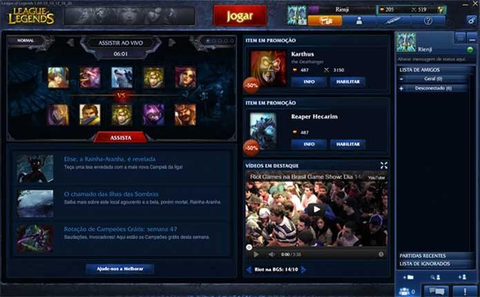 Menu inicial de League of Legends (Foto: Reprodução/Felipe Vinha)