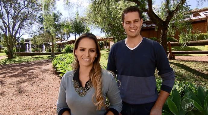 Pedro Leonardo e Aline Lima apresentam o Mais Caminhos de Brotas para falar do Dia dos Namorados (Foto: reprodução EPTV)