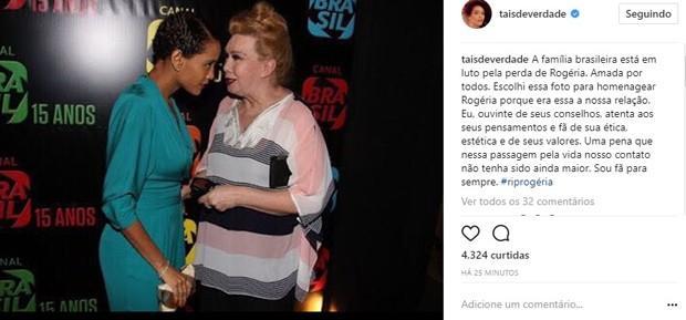 Taís Araújo lamenta morte de Rogéria (Foto: Reprodução/Instagram)