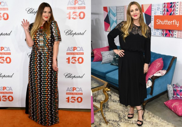 Drew Barrymore antes e depois da dieta (Foto: Getty Images)