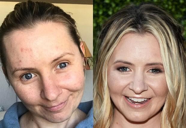 Beverley Mitchell de cara limpa e com maquiagem (Foto: Reprodução/Instagram e Getty Images)