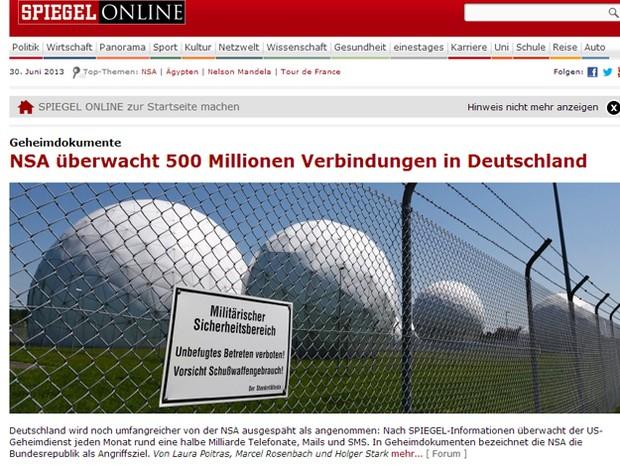 Site da revista alemã 'Der Spiegel' mostra matéria com base em denúncia de que os EUA teriam espionado dados da União Europeia. (Foto: Reprodução/spiegel.de)