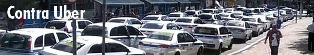 Taxistas protestam contra circulação de carros da Uber em Campinas (Foto: Arte / G1)