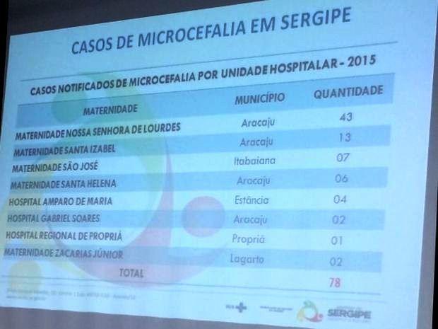 Números da microcefalia no estado foram destacados na apresentação (Foto: Tássio Andrade/G1)