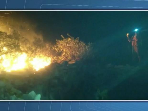 Incêndio destruiu 59 hectares de mata em Jacobina (Foto: Reprodução/TV Bahia)