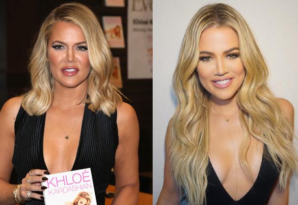 Khloé: 2015 e 2016, ou o antes e depois do preenchimento facial. Segunda a estrela, o preenchimento foi removido porque ela não gostou do resultado, mas as fotos mostram o contrário... (Foto: Getty Images / Reprodução Instagram)