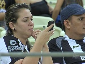 Arena Castelão fica sem acesso à internet 3G em dias de jogo (Foto: TV Verdes Mares/Reprodução)