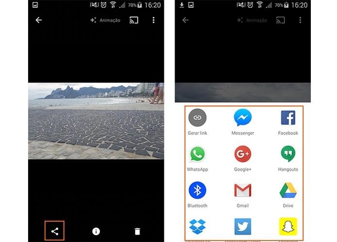 Compartilhe o GIF nas redes sociais pelo Google Fotos (Foto: Reprodução/Barbara Mannara)
