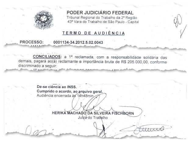 ASSINATURA Documento que oficializa o acordo entre Russomanno e sua ex-funcionária. Ele aceitou pagar a indenização  de R$ 205 mil,   R$ 62.300  por assédio moral  (Foto: reprodução)