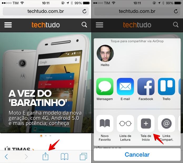 Acessando o menu de compartilhamento do Safari (Foto: Reprodução/Helito Bijora)  (Foto: Acessando o menu de compartilhamento do Safari (Foto: Reprodução/Helito Bijora) )