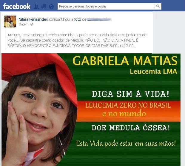 Família de Salto está fazendo campanha no Facebook para conseguir doação de medula óssea para menina (Foto: Reprodução/Facebook)