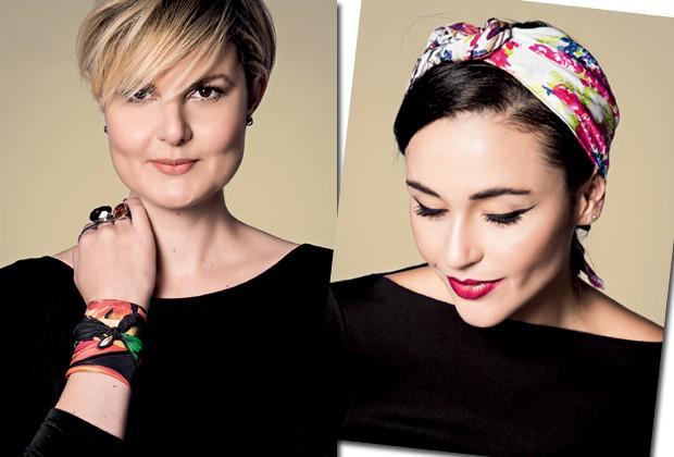 Larissa Lucchese e Mari Di Pilla, editoras de moda da Marie Claire, usam lenços da grife Daslu para complementar o look (Foto: Fred Othero)