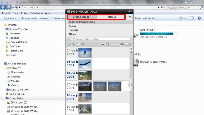 Escolha na aba o tipo de mídia que você deseja transferir para os aplicativos ao fundo (Foto: Reprodução/Daniel Ribeiro)