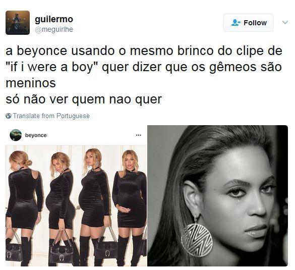 Fãs acreditam que Beyoncé deu dica sobre sexo dos filhos gêmeos (Foto: Twitter / Reprodução)