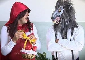 Ritinha encontra o Lobo Mau (Foto: Reprodução/TV Sergipe)