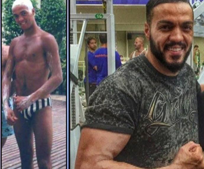Transformação: confira a foto de Belo antes e depois de começar a malhar! (Foto: TV Globo) (Foto: TV Globo)