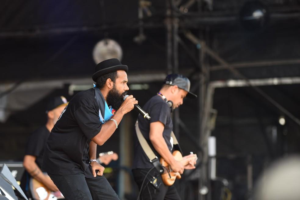 A banda Baiana System em show no Lollapalooza 2017 (Foto: Flavio Moraes/G1)