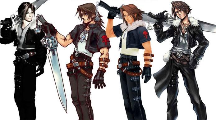 Os visuais de Squall em Final Fantasy e Kingdom Hearts (Foto: Divulgação)