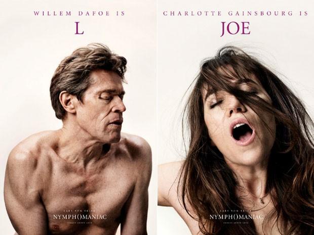 Willem Dafoe e Charlotte Gainsbourg em pôsteres do filme 'Nymphomaniac', de Lars von Trier (Foto: Divulgação)