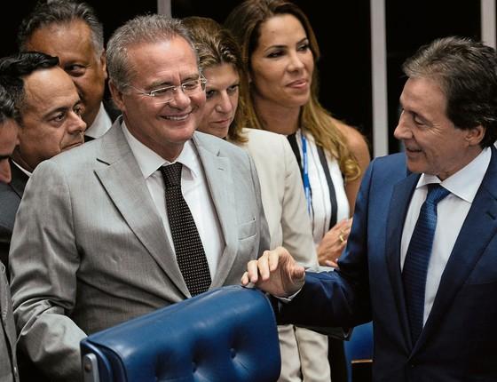O ex-presidente do Senado,Renan Calheiros,eo atual,Eunício Oliveira.Eles são alguns dos citados na delação da Odebrecht,agora nas mãos de Fachin (Foto:  ANDRESSA ANHOLETE/AFP)