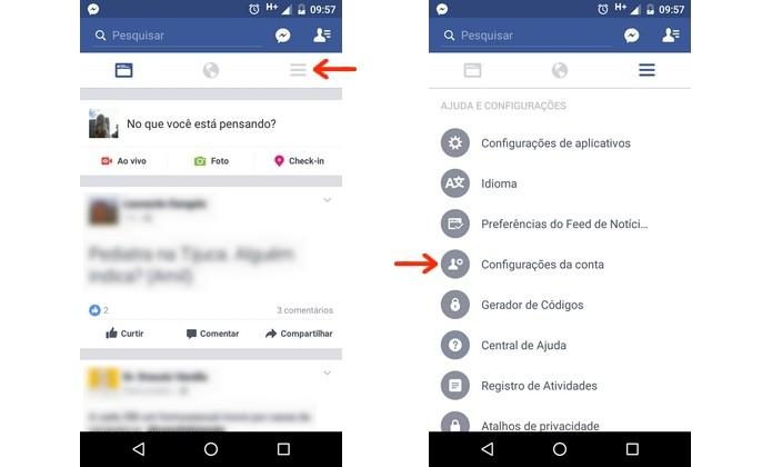 Caminho para abrir configurações da conta do Facebook (Foto: Reprodução/Raquel Freire)