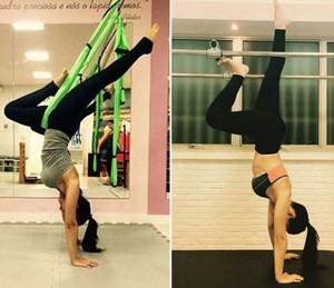 Mari Palma fazendo aula de pilates (Foto: Arquivo pessoal)