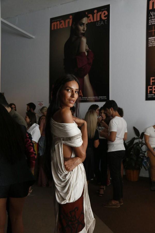 Lea T. no lounge de Marie Claire e Quem no SPFW (Foto: Marcos Rosa)