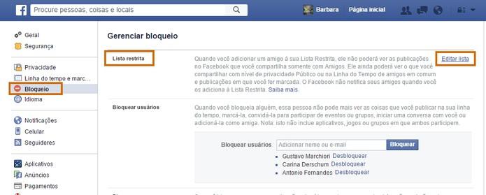 Edite a lista de restritos no Facebook (Foto: Reprodução/Barbara Mannara)